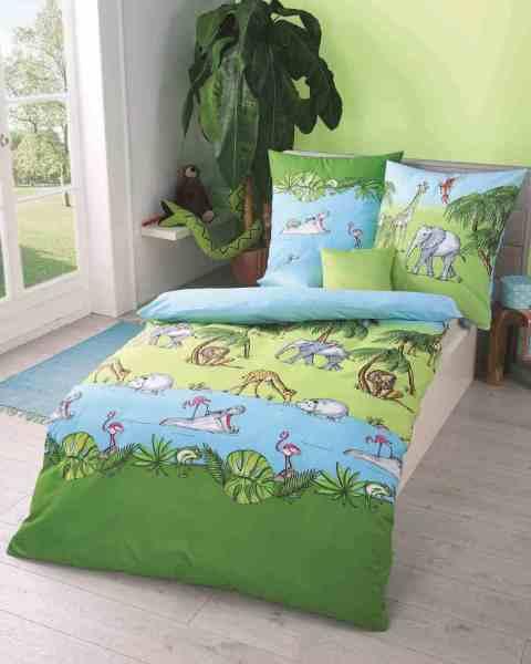 Kinderbettwäsche Renforcé grün