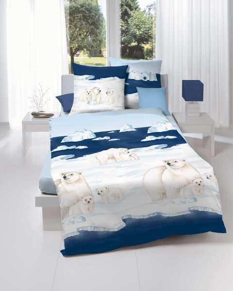 Biber Bettwäsche blau Motiv Eisbär