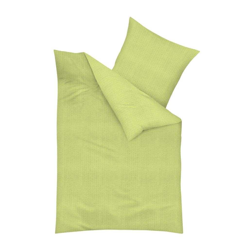seersucker bettw sche in uni apfel gr n 100 baumwolle geld sparen. Black Bedroom Furniture Sets. Home Design Ideas