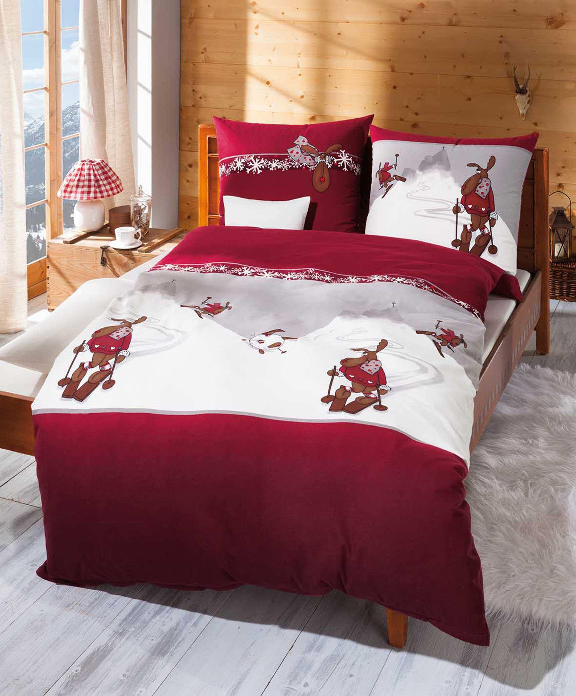 biber bettw sche elch ski warm g nstig bestellen. Black Bedroom Furniture Sets. Home Design Ideas