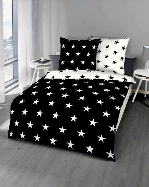 Biber Bettwäsche schwarz Sterne