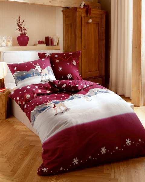 Biber Bettwäsche Weihnachten Winterwonderland Rot
