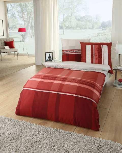 Biber Bettwäsche 838 Streifen Karo rot