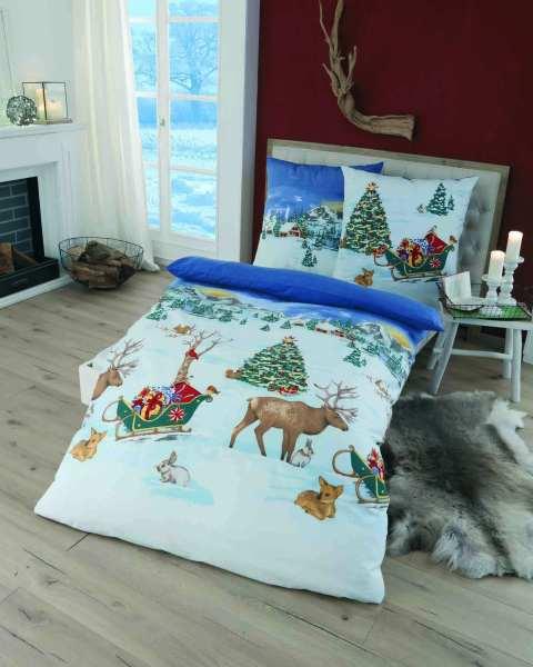 Feinbiber Bettwäsche Blau Motiv Weihnachten In Marken Qualität Günstig