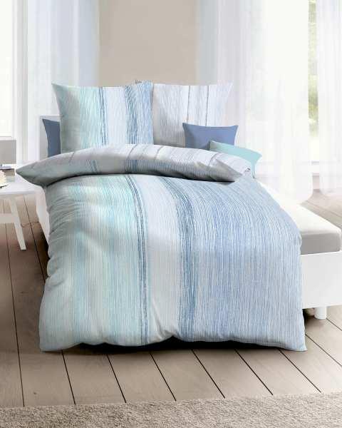 Seersucker Bettwäsche blau
