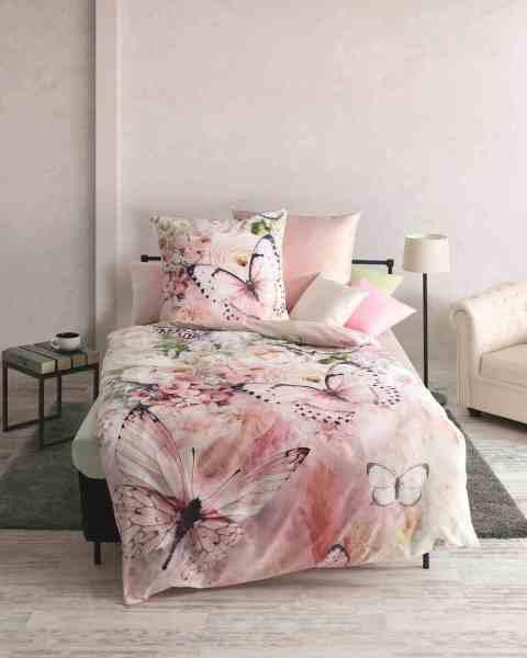 Mako Satin Bettwäsche Mit Schmetterling Motiv 960 Rosé Günstig Kaufen