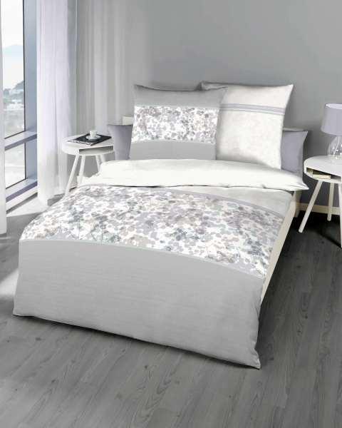 mako satin bettw sche in grau floral g nstig kaufen. Black Bedroom Furniture Sets. Home Design Ideas