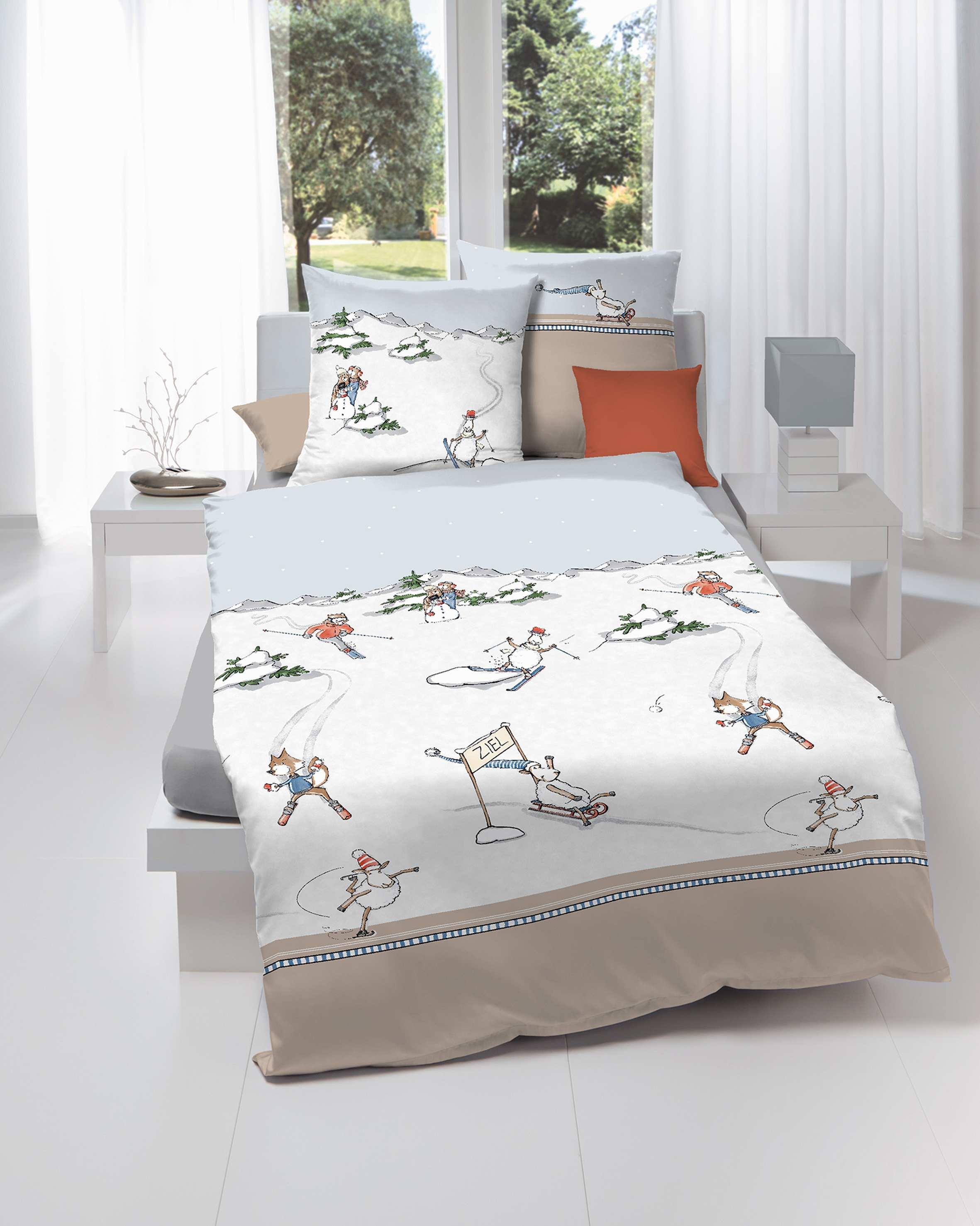 biber bettw sche weihnachten ski naturfarben marken qualit t g nstig. Black Bedroom Furniture Sets. Home Design Ideas