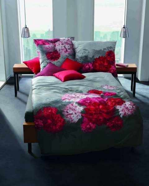 Biber Bettwäsche Blumen Motiv pink
