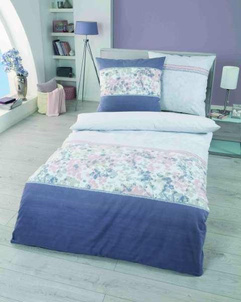 Biber Bettwäsche Blumen Motiv violett
