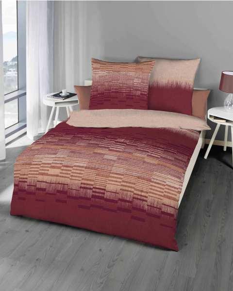 Biber Bettwäsche Streifen karmin rot