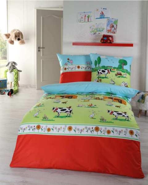 Kinder Biber Bettwasche Motiv Bauernhof Rot Grun Blau Gunstig Kaufen