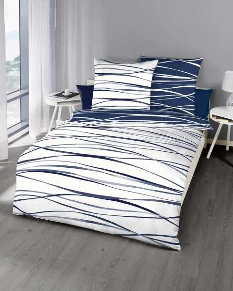 Mako Satin Bettwäsche Marine Blau Mit Streifen Design Günstig Kaufen