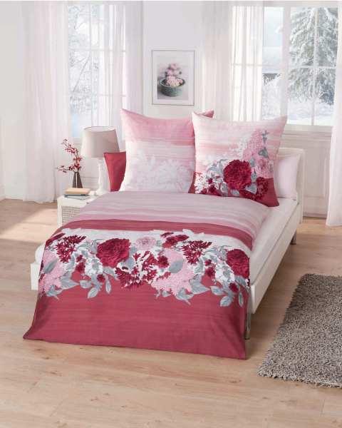 Mako Satin Bettwäsche Blumen Motiv 841 Rot Günstig Auf Rechnung Kaufen
