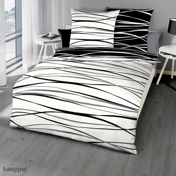 Mako Satin Bettwäsche schwarz Streifen Design