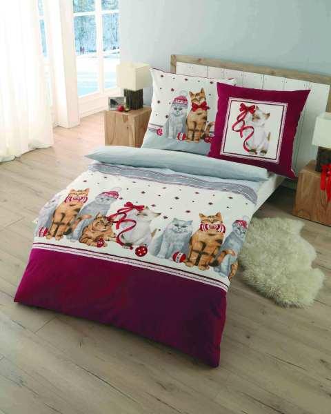 Biber Bettwäsche Weihnachten Katzen Bordeuax Marken Qualität Günstig