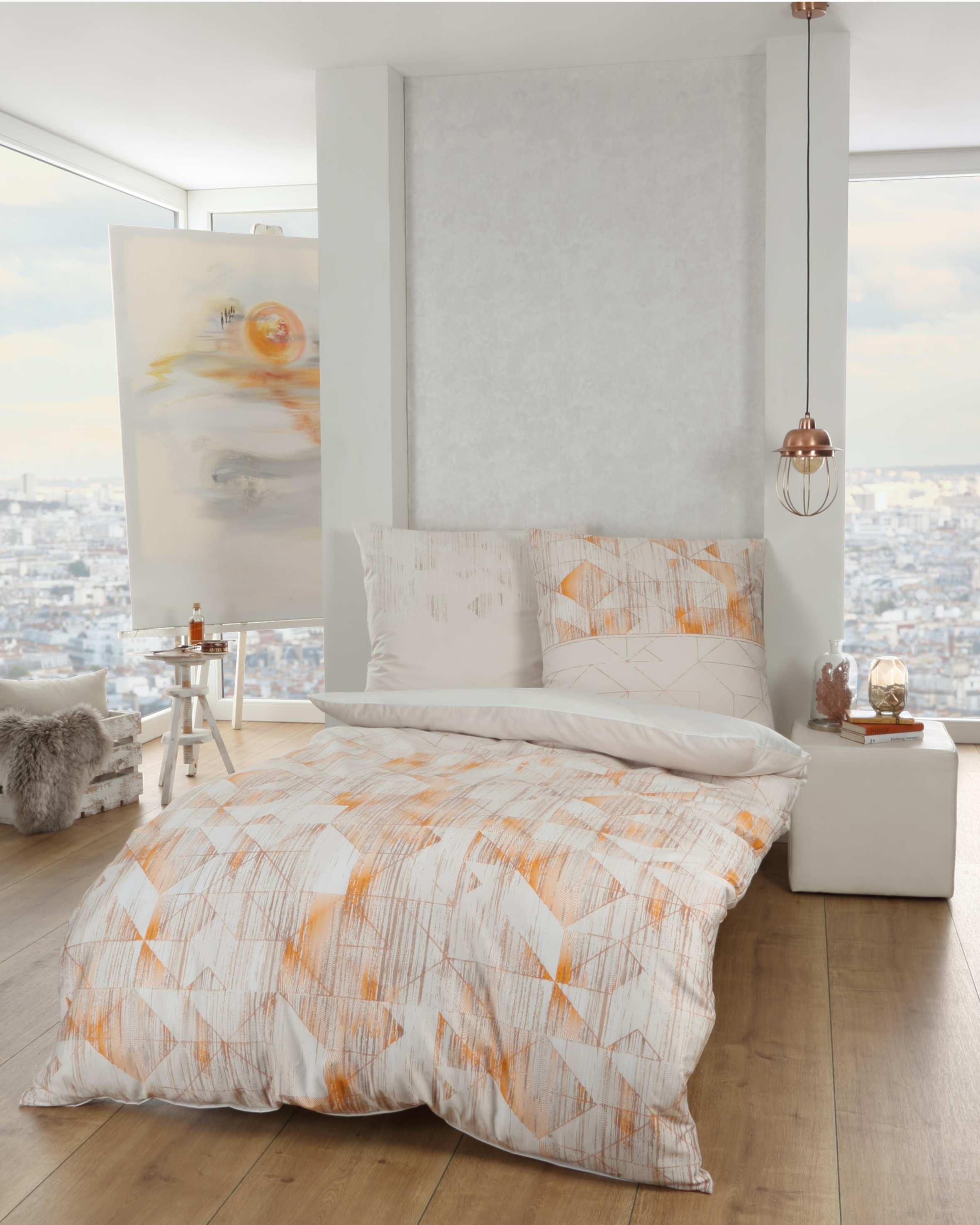 mako satin bettw sche kaeppel 831 farbton mandarine g nstig. Black Bedroom Furniture Sets. Home Design Ideas