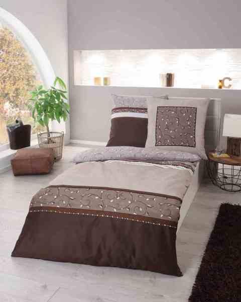 Mako Satin Bettwäsche Streifen Ornamente 845 Braun Günstig Kaufen