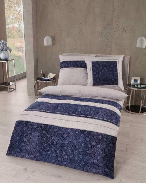 Mako Satin Bettwäsche Streifen Ornamente 846 Indigo Blau Auf